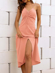 Color=Pink | Sassy Basic Camisole Cotton Summer Dress For Women-Pink 1