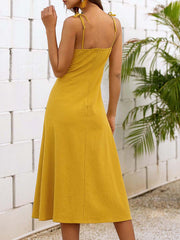 Color=Yellow | Sassy Basic Camisole Cotton Summer Dress For Women-Yellow 2