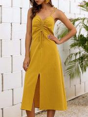 Color=Yellow | Sassy Basic Camisole Cotton Summer Dress For Women-Yellow 3