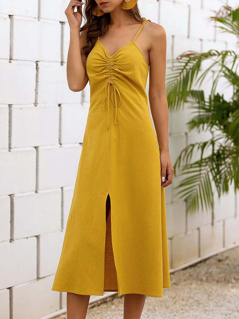Color=Yellow | Sassy Basic Camisole Cotton Summer Dress For Women-Yellow 4