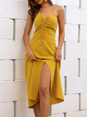 Color=Yellow | Sassy Basic Camisole Cotton Summer Dress For Women-Yellow 1