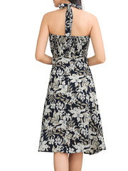 Color=Black | Elegant Short Sleeveless Chiffon Summer Dress With Floral Printed-Black 2