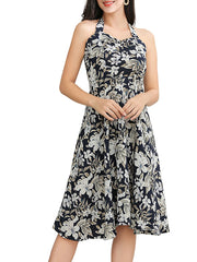 Color=Black | Elegant Short Sleeveless Chiffon Summer Dress With Floral Printed-Black 3
