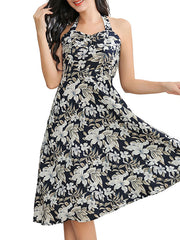 Color=Black | Elegant Short Sleeveless Chiffon Summer Dress With Floral Printed-Black 4