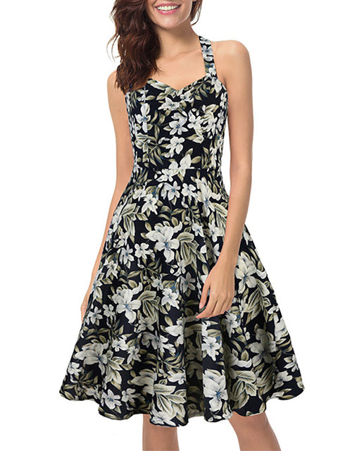 Color=Black | Elegant Short Sleeveless Chiffon Summer Dress With Floral Printed-Black 1