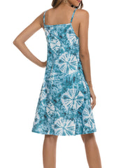 Color=Sky Blue | Bohenmian Floral Printed Cami Summer Dress With Spaghetti Straps-Sky Blue 2