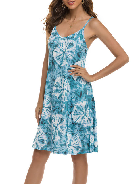 Color=Sky Blue | Bohenmian Floral Printed Cami Summer Dress With Spaghetti Straps-Sky Blue 3