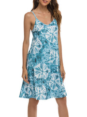 Color=Sky Blue | Bohenmian Floral Printed Cami Summer Dress With Spaghetti Straps-Sky Blue 4