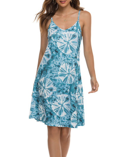 Color=Sky Blue | Bohenmian Floral Printed Cami Summer Dress With Spaghetti Straps-Sky Blue 1