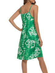 Color=Green | Bohenmian Floral Printed Cami Summer Dress With Spaghetti Straps-Green 2