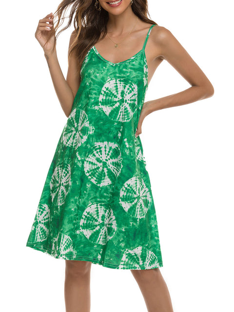 Color=Green | Bohenmian Floral Printed Cami Summer Dress With Spaghetti Straps-Green 3