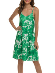 Color=Green | Bohenmian Floral Printed Cami Summer Dress With Spaghetti Straps-Green 4