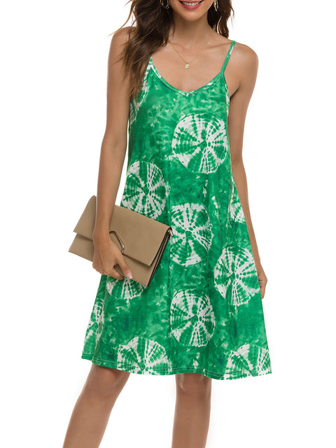 Color=Green | Bohenmian Floral Printed Cami Summer Dress With Spaghetti Straps-Green 1