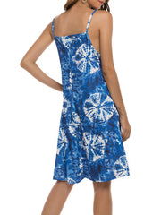 Color=Navy Blue | Bohenmian Floral Printed Cami Summer Dress With Spaghetti Straps-Navy Blue 2