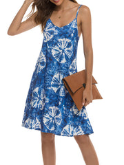 Color=Navy Blue | Bohenmian Floral Printed Cami Summer Dress With Spaghetti Straps-Navy Blue 3