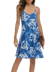 Color=Navy Blue | Bohenmian Floral Printed Cami Summer Dress With Spaghetti Straps-Navy Blue 4
