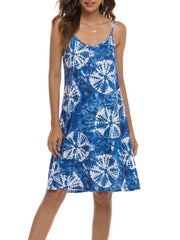 Color=Navy Blue | Bohenmian Floral Printed Cami Summer Dress With Spaghetti Straps-Navy Blue 1
