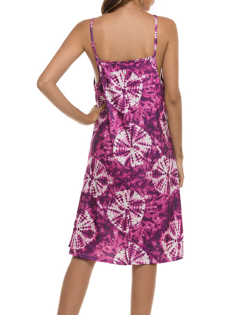 Color=Purple | Bohenmian Floral Printed Cami Summer Dress With Spaghetti Straps-Purple 2
