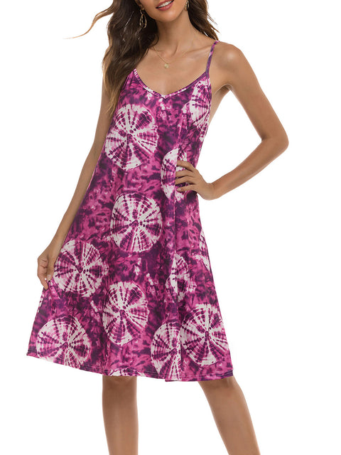 Color=Purple | Bohenmian Floral Printed Cami Summer Dress With Spaghetti Straps-Purple 3