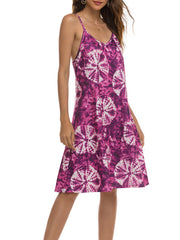 Color=Purple | Bohenmian Floral Printed Cami Summer Dress With Spaghetti Straps-Purple 4