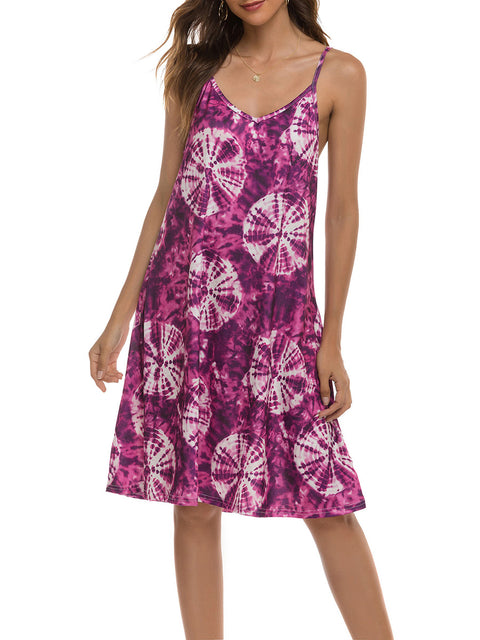 Color=Purple | Bohenmian Floral Printed Cami Summer Dress With Spaghetti Straps-Purple 1