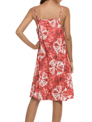 Color=Red | Bohenmian Floral Printed Cami Summer Dress With Spaghetti Straps-Red 2
