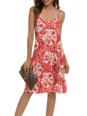 Color=Red | Bohenmian Floral Printed Cami Summer Dress With Spaghetti Straps-Red 3