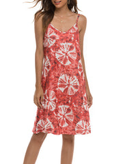Color=Red | Bohenmian Floral Printed Cami Summer Dress With Spaghetti Straps-Red 4