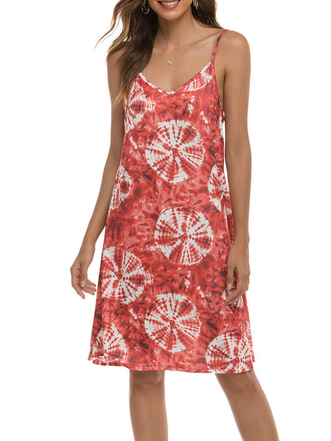 Color=Red | Bohenmian Floral Printed Cami Summer Dress With Spaghetti Straps-Red 1