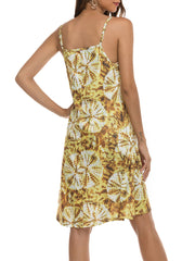 Color=Yellow | Bohenmian Floral Printed Cami Summer Dress With Spaghetti Straps-Yellow 2