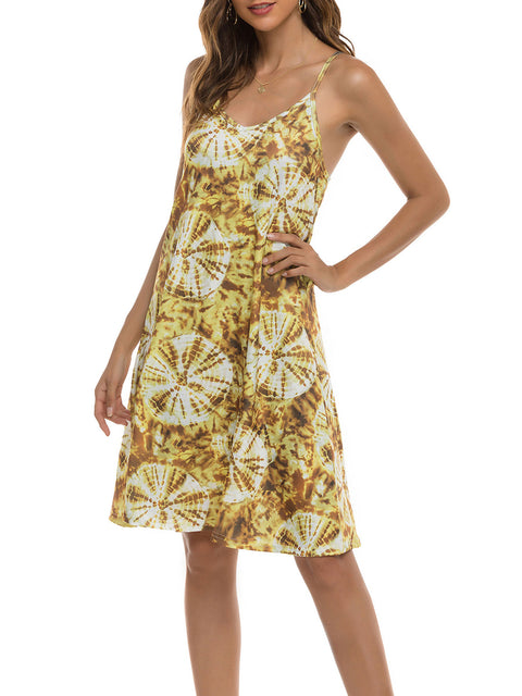 Color=Yellow | Bohenmian Floral Printed Cami Summer Dress With Spaghetti Straps-Yellow 3