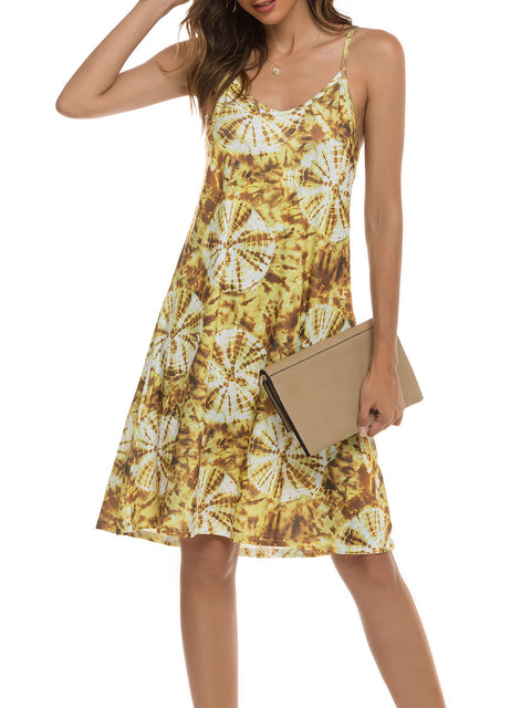 Color=Yellow | Bohenmian Floral Printed Cami Summer Dress With Spaghetti Straps-Yellow 4