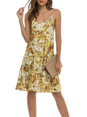Color=Yellow | Bohenmian Floral Printed Cami Summer Dress With Spaghetti Straps-Yellow 1