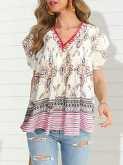 Color=Pink | Boho Printed V Neck Flutter Sleeves Holiday Shirt For Women-Pink 1
