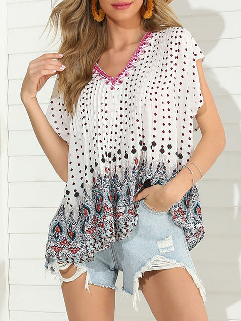 Color=White | Boho Printed V Neck Flutter Sleeves Holiday Shirt For Women-White 1