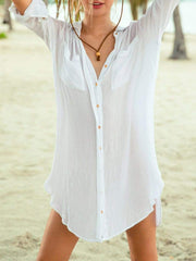 Color=White | Sexy See-Through Comfy Blouse Dress For Women Summer-White 1