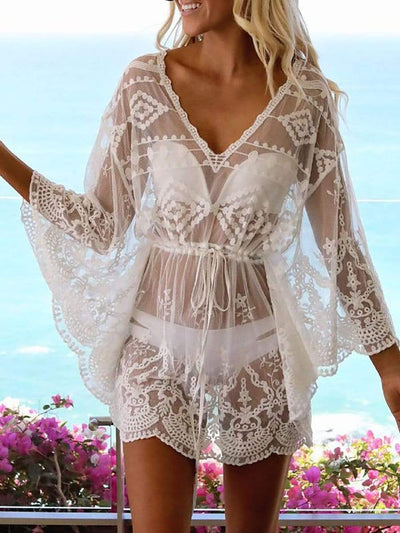 Color=White | Sexy Lace See-Through Holiday Beach Cover Up Dress-White 1