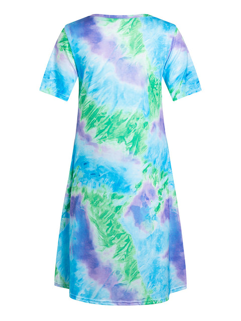 Color=Sky Blue | Women'S Casual Round Neck T-Shirt Summer Dress With Flattering Hem-Sky Blue 2
