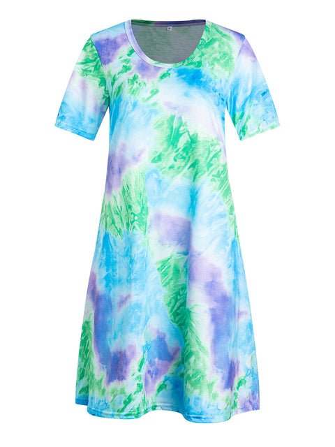 Color=Sky Blue | Women'S Casual Round Neck T-Shirt Summer Dress With Flattering Hem-Sky Blue 1
