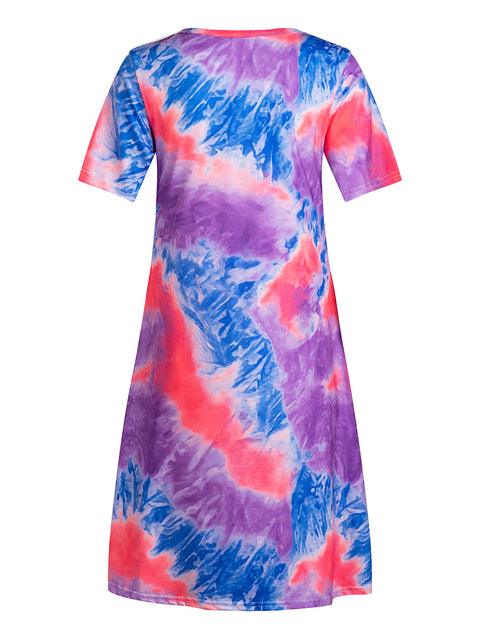 Color=Purple | Women'S Casual Round Neck T-Shirt Summer Dress With Flattering Hem-Purple 2