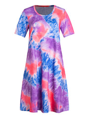 Color=Purple | Women'S Casual Round Neck T-Shirt Summer Dress With Flattering Hem-Purple 1
