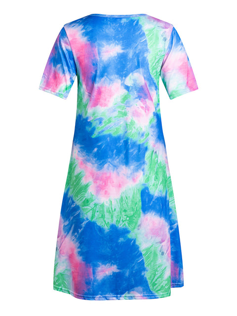 Color=Sapphire Blue | Women'S Casual Round Neck T-Shirt Summer Dress With Flattering Hem-Sapphire Blue 2