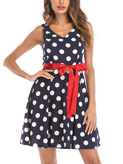 Color=Navy Blue | Fashion V Neck Short Polka Dot Summer Dress With Belt-Navy Blue 1