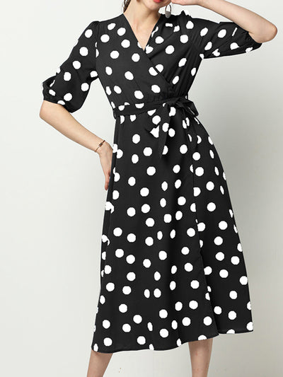 Color=Black | Elegant Half Sleeves V Neck Summer Dress With Polka Dot Printed-Black 1
