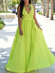 Color=Green | Simple Solid Color Floor-Length Summer Dress With Belt-Green 1
