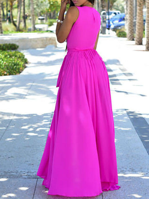Color=Hot Pink | Simple Solid Color Floor-Length Summer Dress With Belt-Hot Pink 2