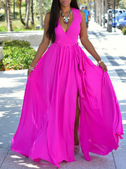 Color=Hot Pink | Simple Solid Color Floor-Length Summer Dress With Belt-Hot Pink 1