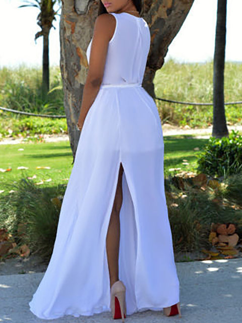 Color=White | Simple Solid Color Floor-Length Summer Dress With Belt-White 2
