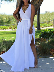 Color=White | Simple Solid Color Floor-Length Summer Dress With Belt-White 1
