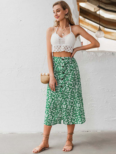 Holiday Floral Print High Waist Buttons Spring Summer Female Midi Skirts